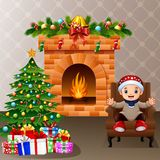 Happy kid sitting in the living room with christmas and new year decoration. Illustration of Happy kid sitting in the living room with christmas and new year Royalty Free Stock Photos