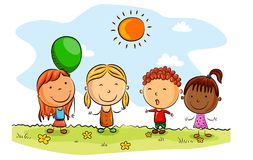Happy kids cartoon with balloons on a summer day stock illustration