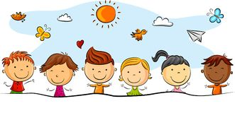 Happy kids cartoon with different pose. Illustration of Happy kids cartoon with different pose Royalty Free Illustration