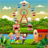 Happy kids group playing on the amusement park. Illustration of Happy kids group playing on the amusement park royalty free illustration