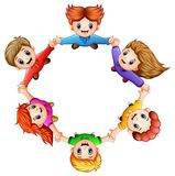 Happy kids holding hands together. Illustration of Happy kids holding hands together Stock Image