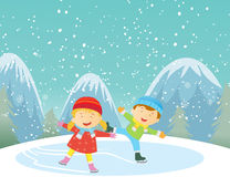 Illustration of happy kids ice-skating outdoors Royalty Free Stock Image