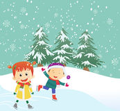 Illustration of happy kids ice-skating outdoors Stock Photography