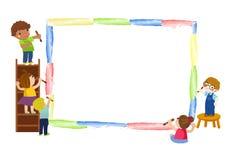 Happy kids painting. Illustration of Happy kids painting vector illustration