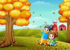 Happy kids playing with autumn leaves. Illustration of Happy kids playing with autumn leaves Royalty Free Stock Photo