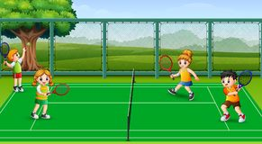 Happy kids playing tennis at the courts. Illustration of Happy kids playing tennis at the courts stock illustration