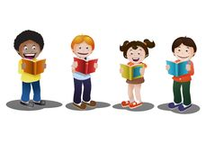 Kids reading book in isolated white background. Illustration of happy kids reading book on isolated white background Stock Photography