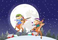 Illustration of Happy kids riding a reindeer with full moon behind Stock Images