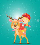 Illustration of Happy kids riding a reindeer Royalty Free Stock Photos
