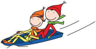 Happy kids. Illustration of happy kids sledding in winter Royalty Free Stock Image