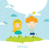 Illustration of happy kids on summer background Stock Photography