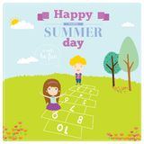 Illustration of happy kids on summer background Stock Image