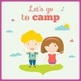 Illustration of happy kids on summer background Stock Image