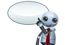 Illustration of a happy little robot pointing finger vector illustration