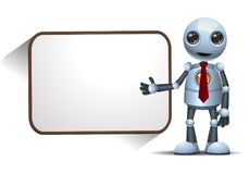 Little robot presenting blank  board Stock Images