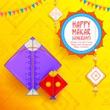 Happy Makar Sankranti wallpaper with colorful kite string. Illustration of Happy Makar Sankranti wallpaper with colorful kite string for festival of India Stock Images