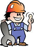 Illustration of an Happy Mechanic or Handyman Royalty Free Stock Image