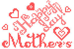 Illustration Happy mothers day, embroidery Stock Image