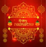 Illustration Of Happy Navratri Celebration Poster Greetings Banner Background. Illustration Of Happy Navratri Celebration Poster. Red banner Background Vector Illustration
