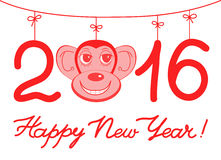 Illustration  Happy New Year background with monkey. Illustration  Happy New Year background with monkey symbol of the year on the Chinese calendar. Сreative Royalty Free Stock Photography
