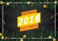 Happy new year 2018 greeting card with fir branches and gold balls. Illustration of Happy new year 2018 greeting card with fir branches and gold balls Stock Photos
