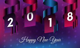 Illustration of happy new year 2018 with purple ribbon and snowflakes in the dark gradient background. Royalty Free Stock Photos