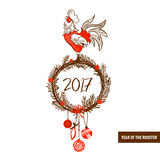 Illustration for happy new year 2017 red rooster. Silhouette coc Stock Images