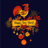 Illustration for happy new year 2017 red rooster. Silhouette coc Stock Photos