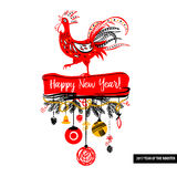 Illustration for happy new year 2017 red rooster. Silhouette coc Stock Photography