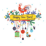 Illustration for happy new year 2017 red rooster. Silhouette coc Royalty Free Stock Images