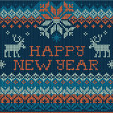 Illustration of Happy New Year: Scandinavian style seamless knit Stock Image