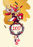 Illustration for happy new year 2017 with silhouette cock and ch Stock Image