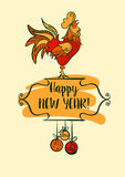 Illustration for happy new year 2017 with silhouette cock and ch Stock Photo