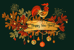 Illustration for happy new year with silhouette cock and christm Stock Photo