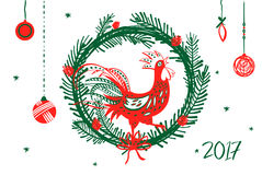 Illustration for happy new year with silhouette and christm. As decoration on white background. Design element of symbol year red rooster 2017 Royalty Free Illustration