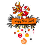 Illustration for happy new year 2017 with silhouette cock. Desig Stock Photos