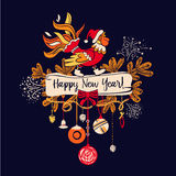 Illustration for happy new year 2017 with silhouette cock. Desig. N  element of greeting card, poster, postcard, invitation with christmas decoration and symbol Stock Photography