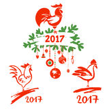 Illustration for happy new year 2017 with silhouette cock. Desig Stock Photography