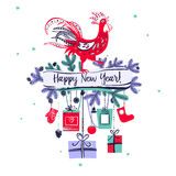 Illustration for happy new year 2017 with silhouette cock. Desig Royalty Free Stock Images