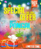 Illustration of Happy Pongal holiday festival celebration background, poster, banner.  Stock Photography