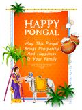 Happy Pongal Holiday Harvest Festival of Tamil Nadu South India greeting background. Illustration of Happy Pongal Holiday Harvest Festival of Tamil Nadu South Royalty Free Stock Images