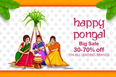 Happy Pongal Holiday Harvest Festival of Tamil Nadu South India Sale and Advertisement background. Illustration of Happy Pongal Holiday Harvest Festival of Tamil stock illustration