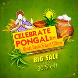 Happy Pongal Holiday Harvest Festival of Tamil Nadu South India Sale and Advertisement background. Illustration of Happy Pongal Holiday Harvest Festival of Tamil Stock Photos