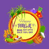 Happy Pongal Holiday Harvest Festival of Tamil Nadu South India Sale and Advertisement background vector illustration