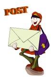Illustration with a happy postman stock illustration