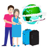 Illustration of happy pregnant couple travel around world Vector Royalty Free Stock Photo