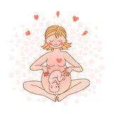 Illustration of a happy pregnant woman Royalty Free Stock Photo