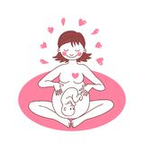 Illustration of a happy pregnant woman. Vector illustration Stock Images