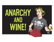 Anarchy and Wine Punk Rock Housewife Vector Design. Illustration of happy, pretty retro 1950s style housewife with green hair wearing modern punk rock clothes Royalty Free Stock Images