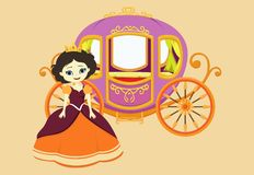 Illustration of happy princess with royal carriage Stock Photography
